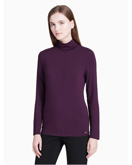Calvin Klein - Purple Rayon Stretch Turtleneck Sweater - Lyst