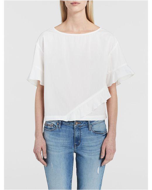 Calvin Klein | White Jeans Solid Ruffle T-shirt | Lyst