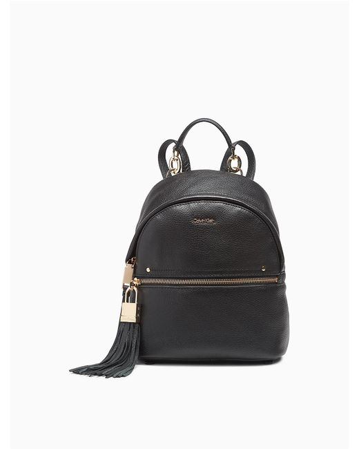 Calvin Klein | Black Pebble Leather Backpack | Lyst