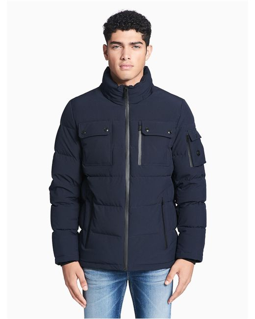 Calvin Klein | Blue Down Hooded Jacket for Men | Lyst