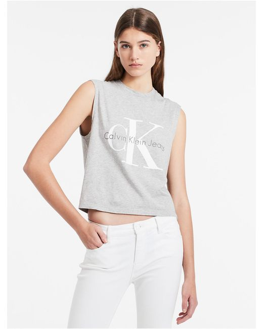 Calvin Klein   Gray Jeans Logo Sleeveless Cropped Top   Lyst
