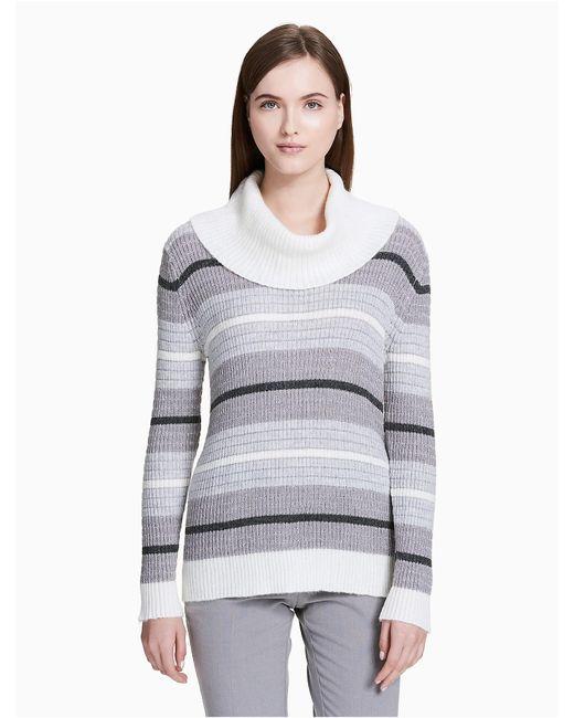 CALVIN KLEIN 205W39NYC - Gray Mixed Stripe Cowl Neck Top - Lyst