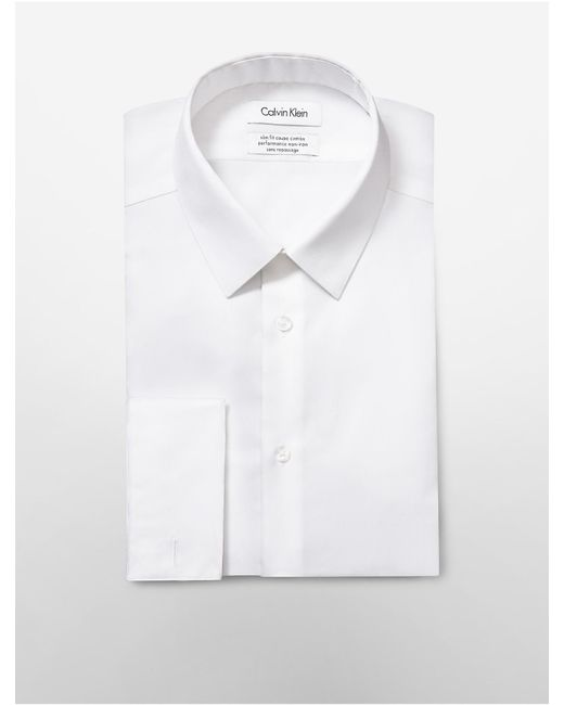 CALVIN KLEIN 205W39NYC - White Steel Slim Fit Bedford French Cuff Non-iron Dress Shirt for Men - Lyst