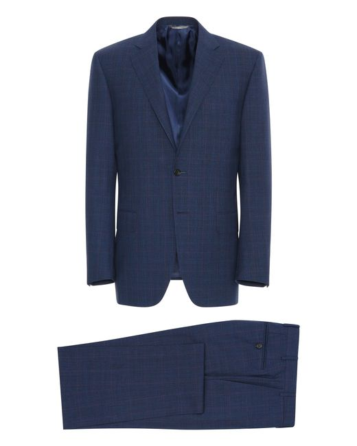 Canali Navy Blue Impeccabile Wool Siena Suit With Prince Of Wales Check for men