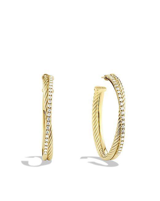 David Yurman   Metallic Crossover Extra-large Hoop Earrings With Diamonds In 18k Gold   Lyst