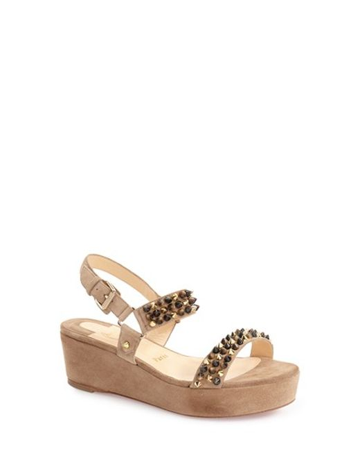 black spiked louis vuitton shoes - Christian louboutin \u0026#39;bikee Deck\u0026#39; Platform Wedge Sandal in Brown ...