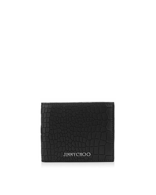 Jimmy Choo | Mark Black Leather Crocodile Embossed Wallet for Men | Lyst