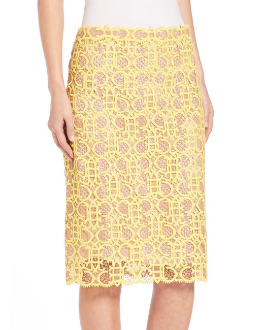 emilio pucci macrame lace pencil skirt in yellow save 60