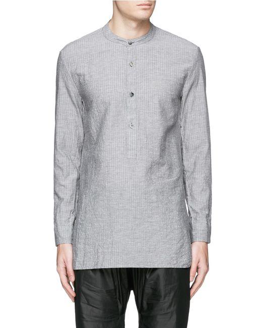 Attachment Band Collar Stripe Cotton Linen Shirt In Gray
