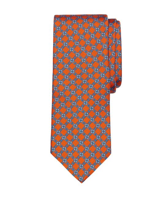 Brooks Brothers | Orange Diamond Link Print Tie for Men | Lyst