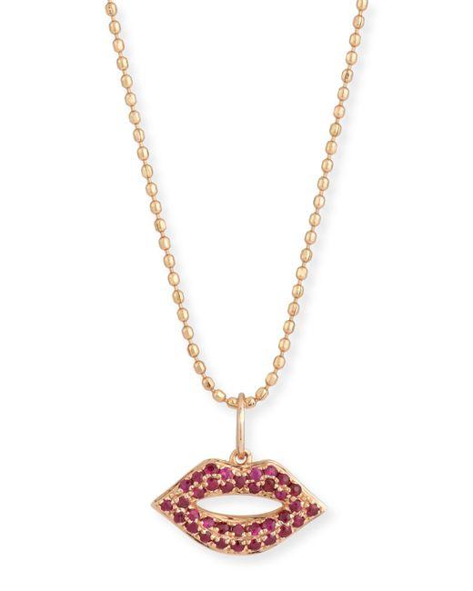 Sydney Evan | Metallic 14k Gold Ruby Lips Pendant Necklace | Lyst