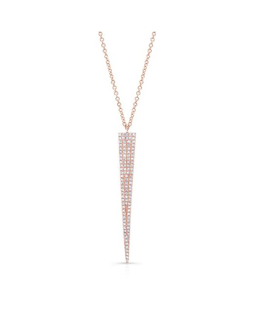Anne Sisteron - Metallic 14kt Rose Gold Diamond Long Triangle Necklace - Lyst