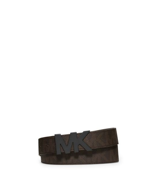 michael kors logo leather belt in brown for lyst