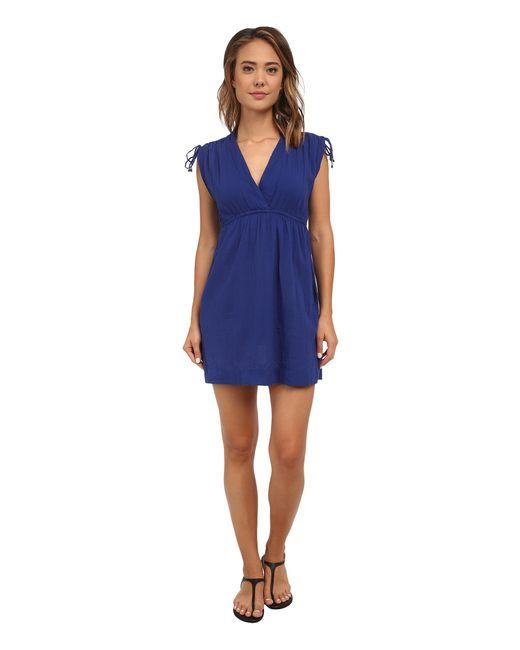 Lauren by Ralph Lauren | Blue Crushed Cotton Farrah Dress Cover-up | Lyst
