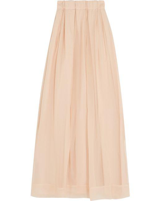 brunello cucinelli pleated silk georgette maxi skirt in