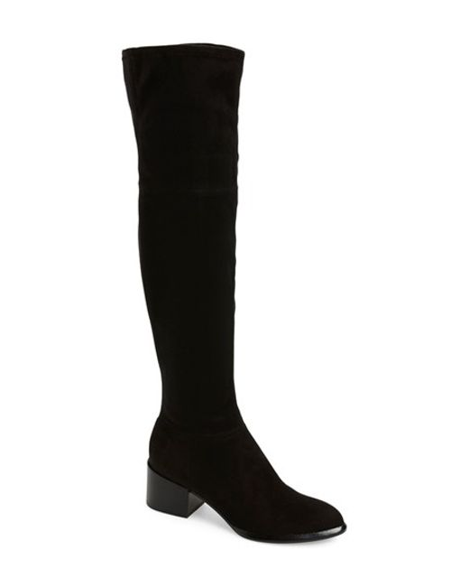 calvin klein nani suede the knee suede boots in black