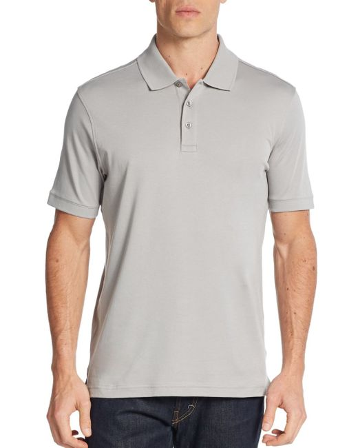 Saks Fifth Avenue | Gray Pima Cotton Polo Shirt for Men | Lyst