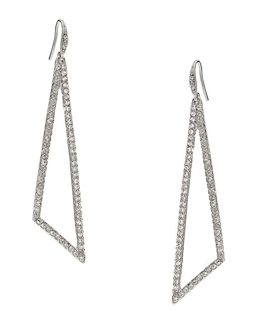 ABS By Allen Schwartz | Green Openwork Pave Linear Drop Earrings | Lyst