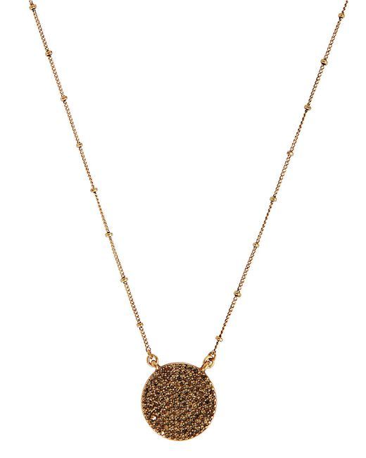 Lucky Brand | Metallic Gold Rock Crystal Pendant Necklace | Lyst