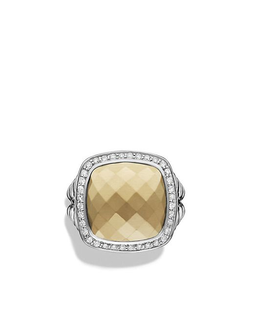 David Yurman | Metallic Ring With 18k Gold Dome And Diamonds | Lyst