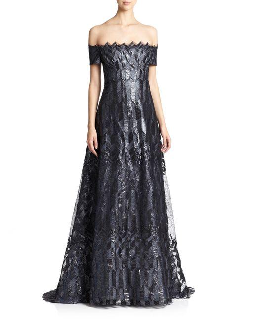 Rene Ruiz | Black Art Deco Cap-sleeved Gown | Lyst