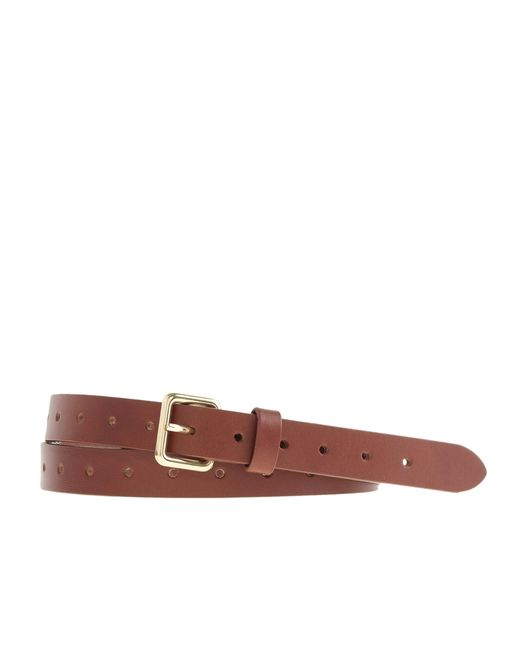 J.Crew | Brown Perforated Leather Belt | Lyst