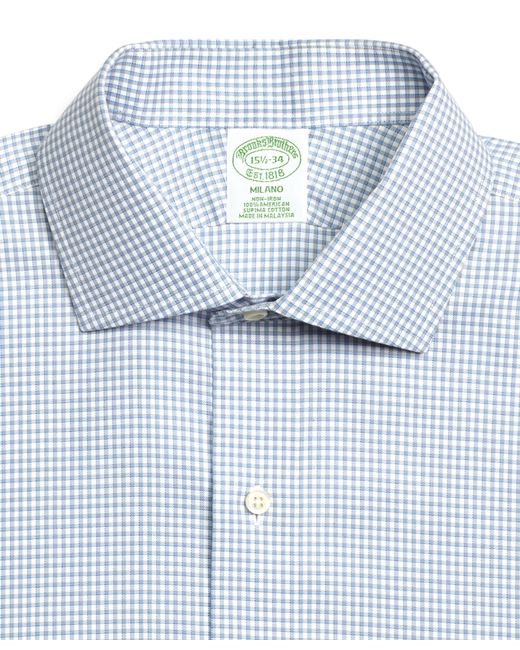 Brooks brothers non iron madison fit shadow check french for Light blue french cuff dress shirt