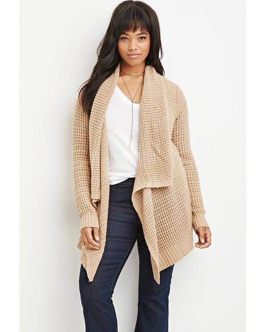 Forever 21 | Natural Plus Size Waffle Knit Cardigan You've Been Added To The Waitlist | Lyst