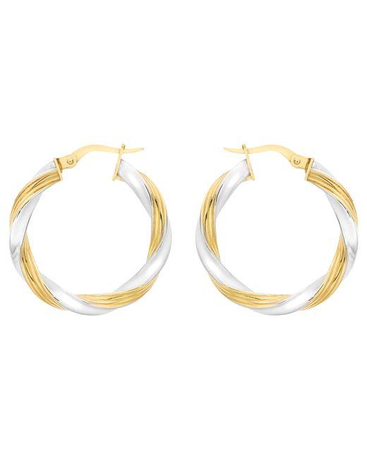 Ib&b | Metallic 9ct Gold Two Colour Creole Twist Earrings | Lyst