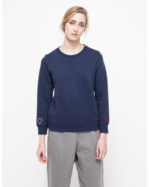 A.P.C.   Blue Ribbed Detail Sweatshirt   Lyst