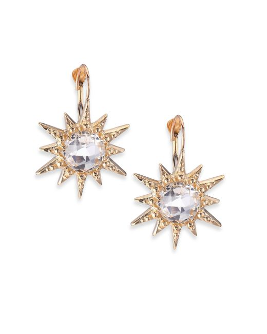 Anzie | Metallic Aztec White Topaz & 14k Yellow Gold Starburst Earrings | Lyst