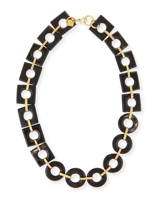 Ashley Pittman   Black Mbele Dark Horn Geometric Link Necklace   Lyst