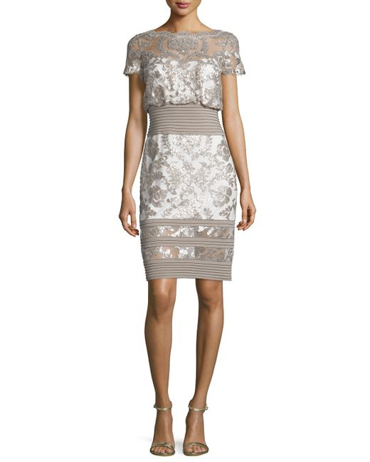 Tadashi shoji short sleeve sequined lace dress in blue lyst for Neiman marcus dresses for wedding guest