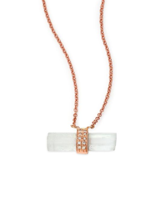 Jacquie Aiche | Pink Aquamarine, Diamond & 14k Rose Gold Aura Bar Pendant Necklace | Lyst