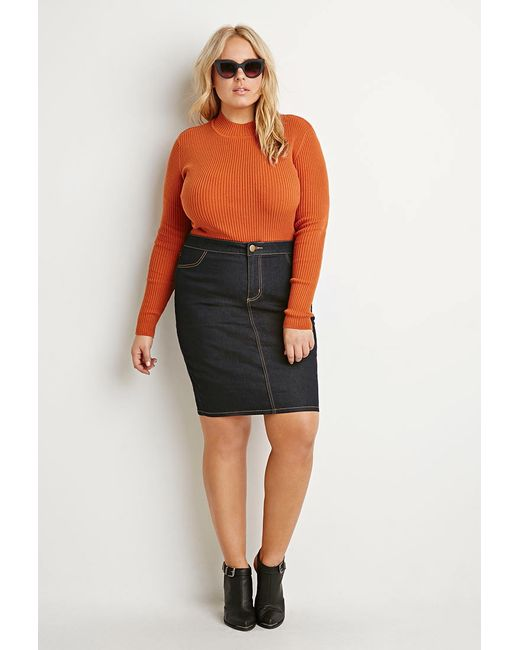 Forever 21 | Orange Ribbed Mock Neck Jumper | Lyst