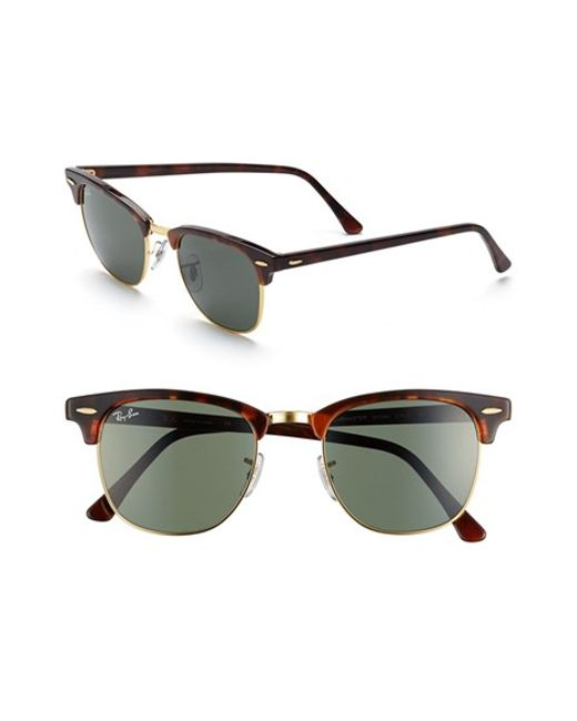 Ray-Ban | 'classic Clubmaster' 51mm Sunglasses - Dark Tortoise/ Green for Men | Lyst