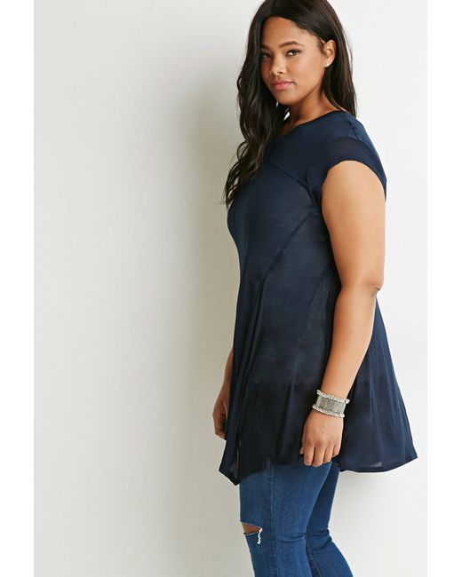 Forever 21 | Blue Contrast-stitched Trapeze Tunic | Lyst