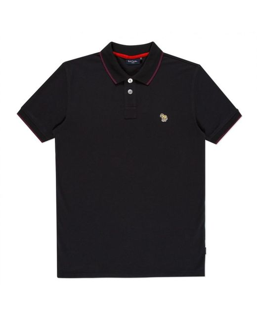 Paul smith zebra logo polo shirt in black for men lyst for Polo work shirts with company logo
