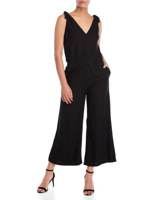 4our Dreamers - Black Tie-strap Flared Jumpsuit - Lyst