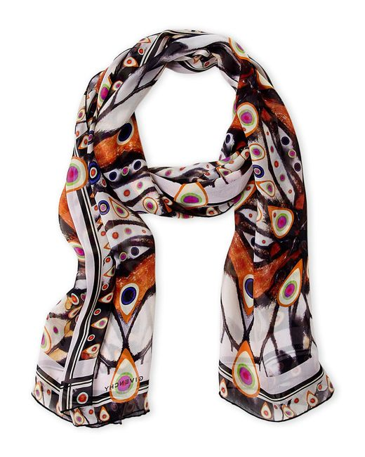 Givenchy - Black Butterfly Print Silk Scarf - Lyst