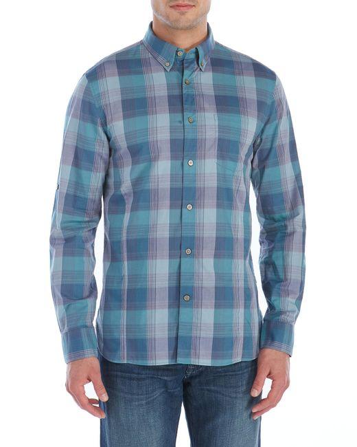 John varvatos turquoise button down plaid shirt in blue for Aqua blue mens dress shirt