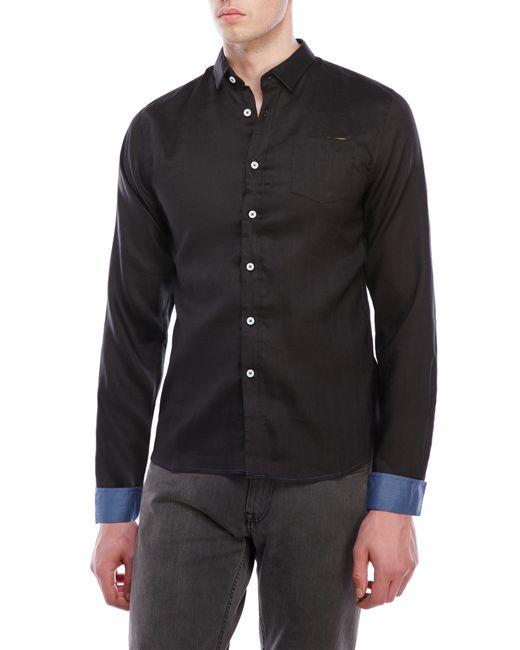 Descendant of thieves black linen sport shirt in black for for Century 21 dress shirts