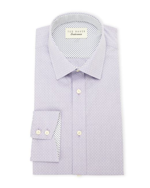 Ted baker lilac patterned timeless dress shirt in blue for for Mens lilac dress shirt