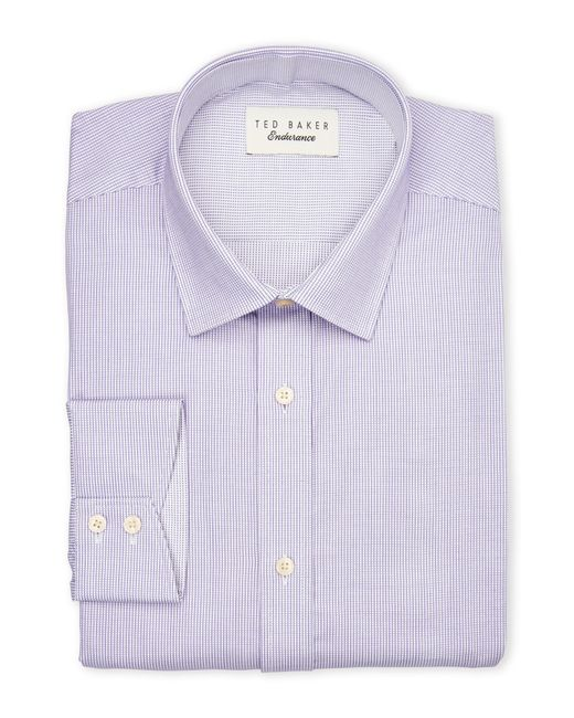 Ted baker lilac check dress shirt in purple for men lilac for Mens lilac dress shirt