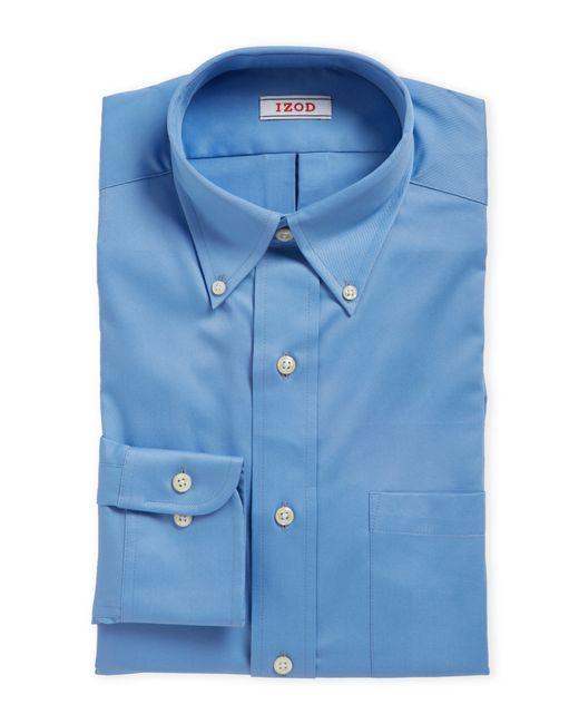izod blue twill slim fit dress shirt in blue for men lyst