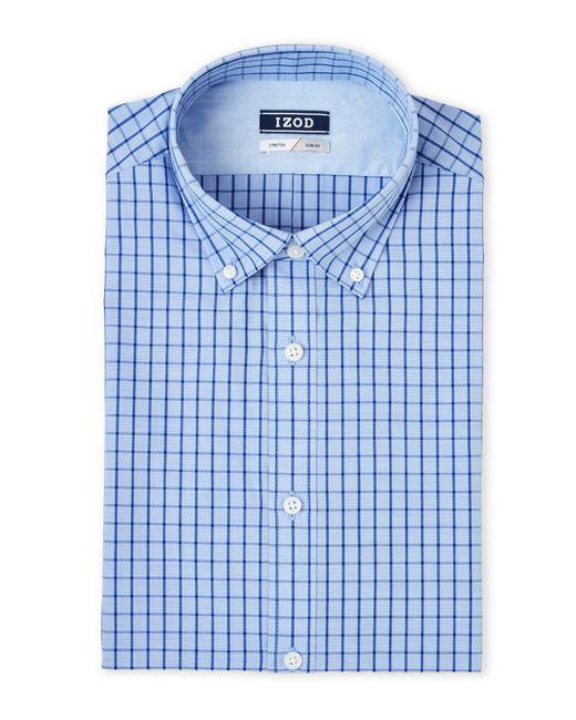 Izod steel blue plaid dress shirt in blue for men lyst for Century 21 dress shirts