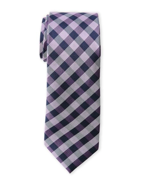 Pierre Cardin | Purple Checked Slim Silk Tie for Men | Lyst