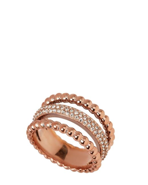 Swarovski - Multicolor Rose Gold-tone Click Ring Size 8.25 - Lyst