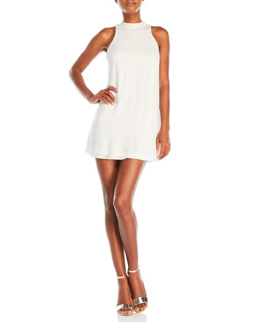 Sequin Hearts | White Embroidered Mock Neck Shift Dress | Lyst