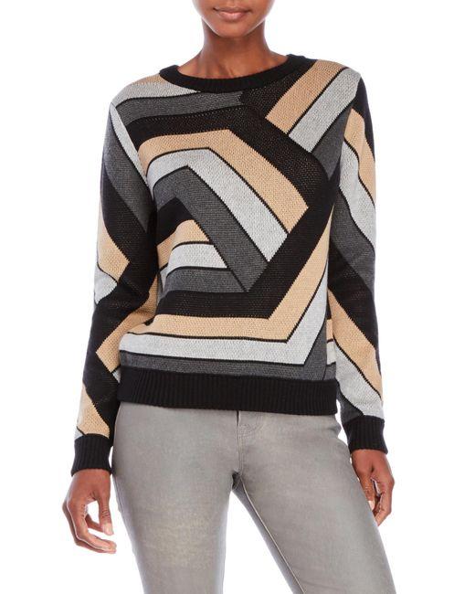 Shae   Black Geometric Patterned Sweater   Lyst